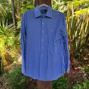 POLO by RALPH LAUREN blue white striped shirt